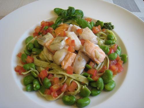 Fischfiletgulasch auf Pesto-Tagliatelle mit dicken Bohnen und Tomatenkonkassee