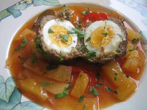 Eierspieße in der Fleischhülle