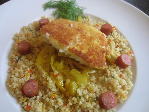 Fenchel im Orangen-Curry-Sud mit Bulgur und Kabeljau