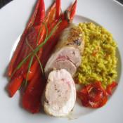 Gefüllte Hähnchenkeule mit Spitzpaprika und Gemüserisotto