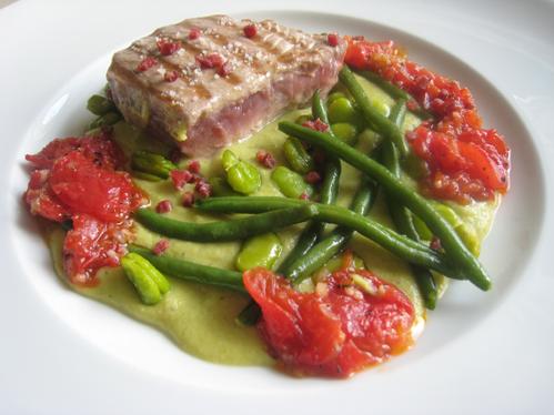 Tunfisch mit Bohnen und Tomaten