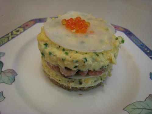 Rührei-Krabben-Toast im Dessertring