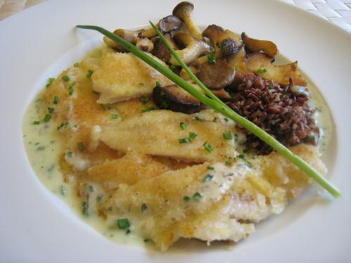 Merlanfilets in Schnittlauchsauce mit Kräuterseitlingen und rotem Camargue-Reis
