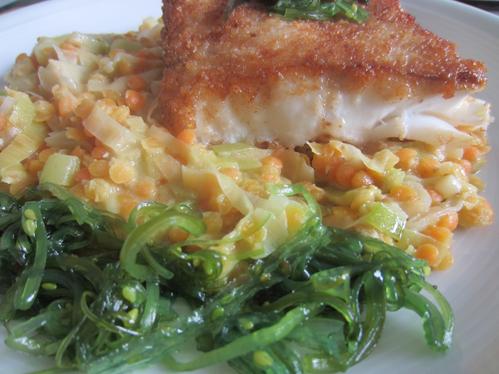 Rotbarschloin mit Lauchlinsen und Goma-Wakame-Salat